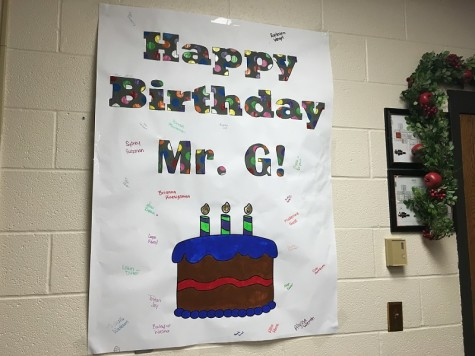Project management students made a signed poster for Mr. G's birthday.