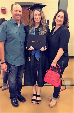Nease and her parents, Dan and Janell Nease at her FHSU graduation.
