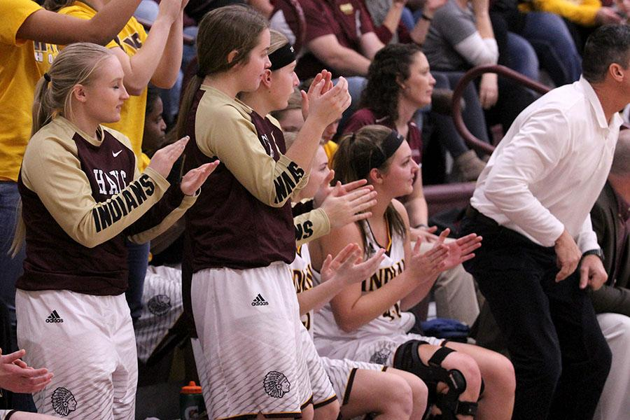 Bench goes wild during a recent game against the Dodge City Red Demons.  The Indians fell to the Salina Central Mustangs on Feb. 9