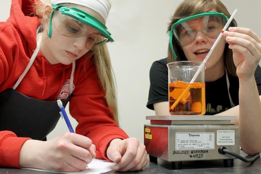 Junior Sara Rohleder and senior Madison Crees work together on Science Olympiad.