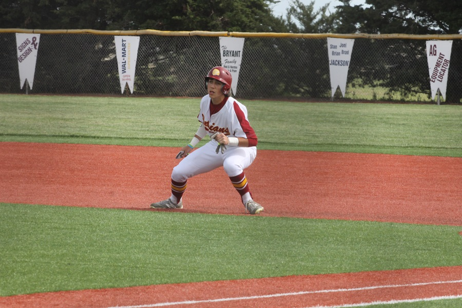 Senior Jace Armstrong leads off first base at a home game last season.