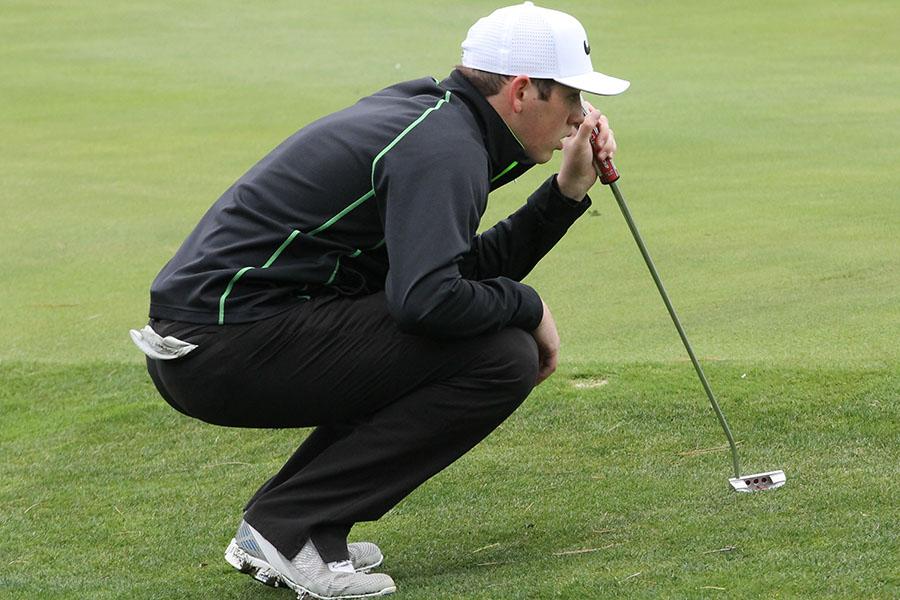 Junior Peyton Kieffer lines up the ball at the Hays Invitational