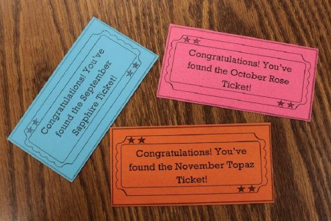 Tickets hidden in library for students to find