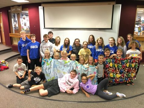 DECA makes tie blankets for Ronald McDonald Houses Charities