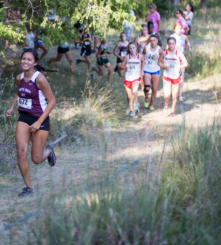Sophomore runner Yesenia Maldonado races ahead of the pack of runners.