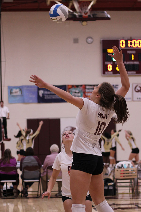 Jaysa Wichers goes up for a kill at home vs Salina South