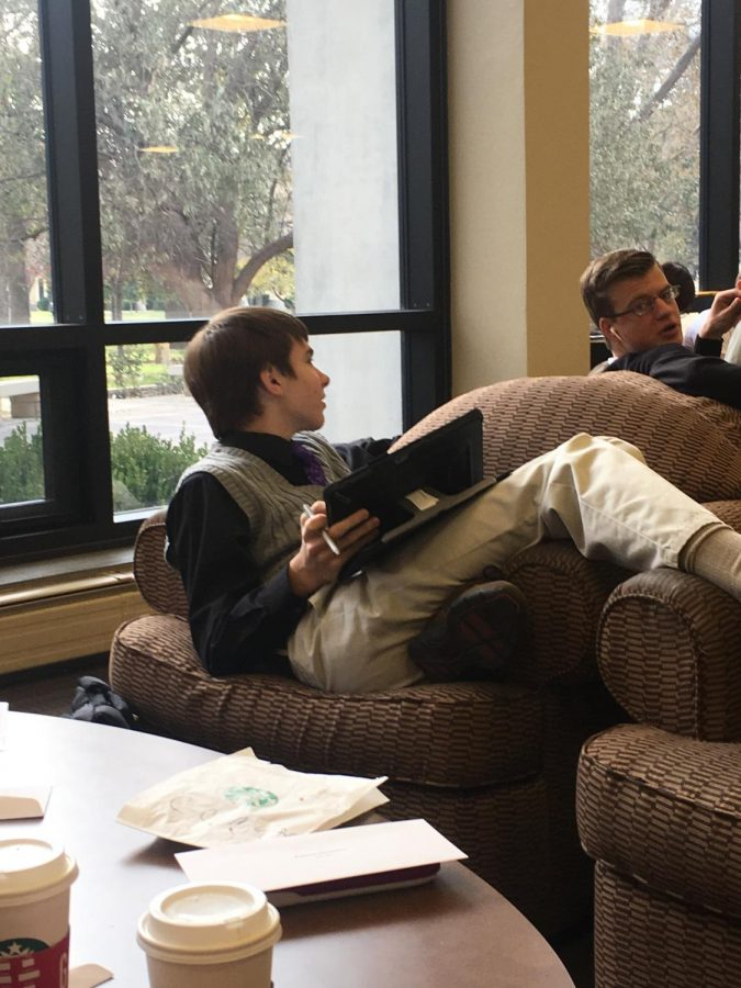 Senior+Dawson+Rooney+discusses+one+of+the+practice+problems+with+senior+Zach+Wagoner+on+Nov.+9.+Rooney+and+Wagoner+took+4th+in+algebraic+manipulations+with+senior+Lisa+Schoenberger.