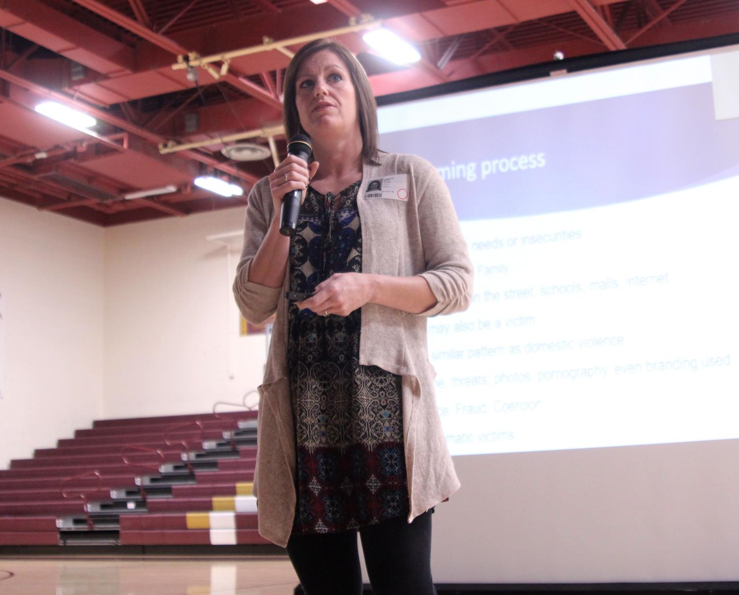 Jennifer White is the founder and executive producer of ICT S.O.S. On Jan. 8, White spoke to students about human trafficking and explained how a person can be put in that situation.