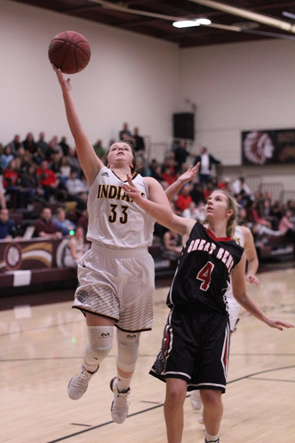 Sophomore+Brooke+Denning+goes+up+for+a+shot+in+a+recent+game+against+Great+Bend.+On+Feb+16%2C+the+Lady+Indians+basketball+team+lost+to+Garden+City.