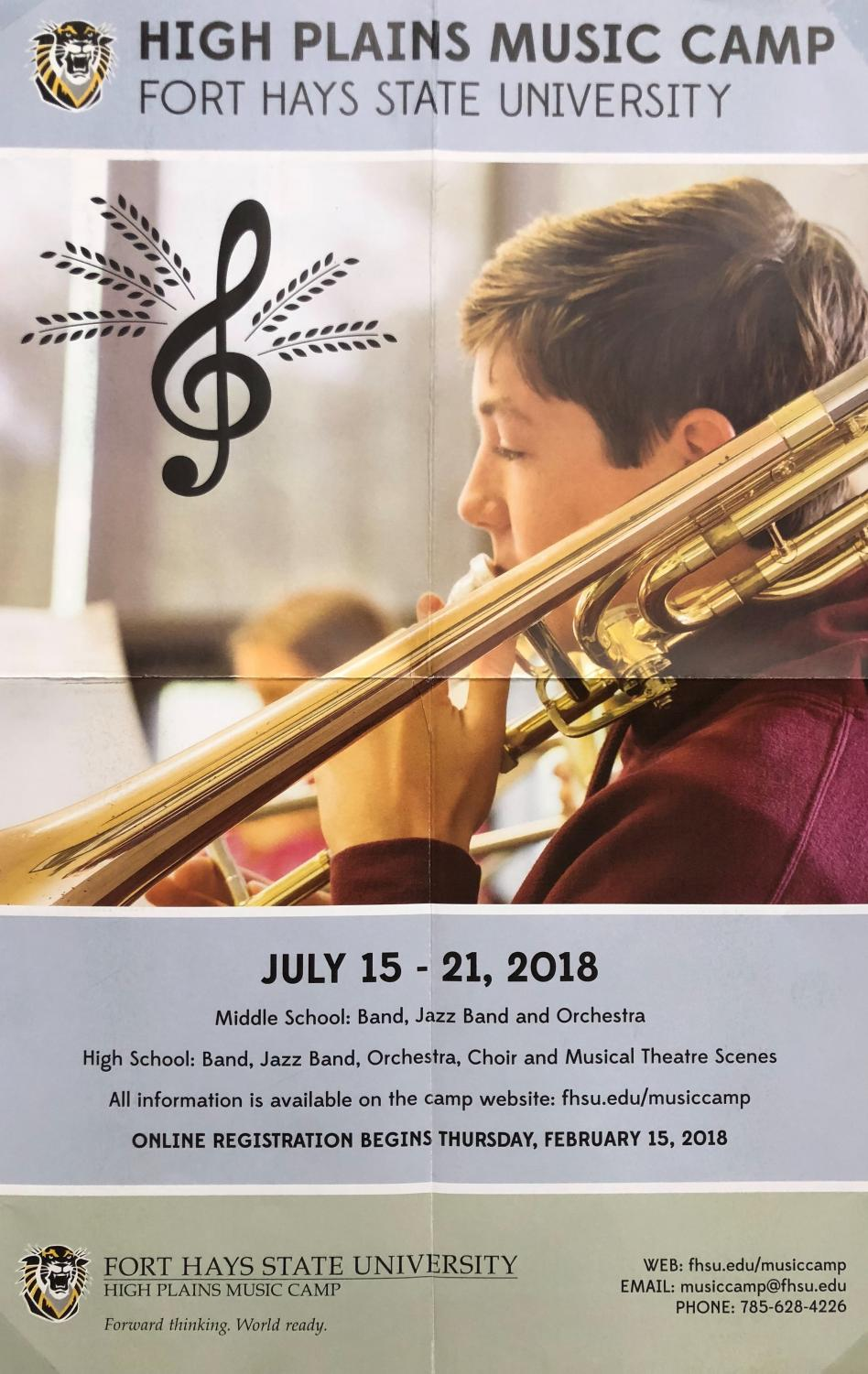 Registration for the High Plains Music Camp will open on Feb. 15. Auditions will be held on Sunday July 9.