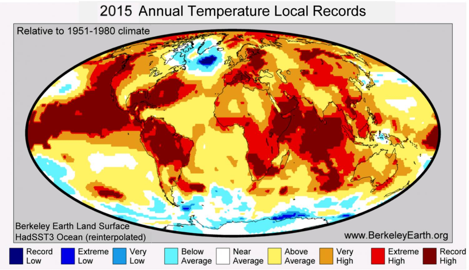 2015 annual temperatures show that in many locations there were record high temperatures. There were also record lows in a few locations.