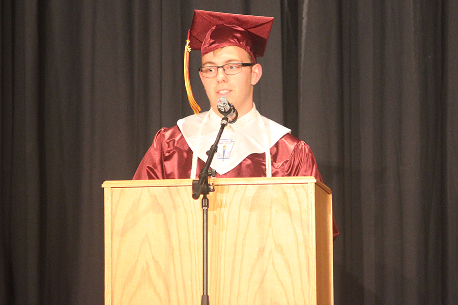 Senior Dusty Schneider speaks during the baccalaureate session.