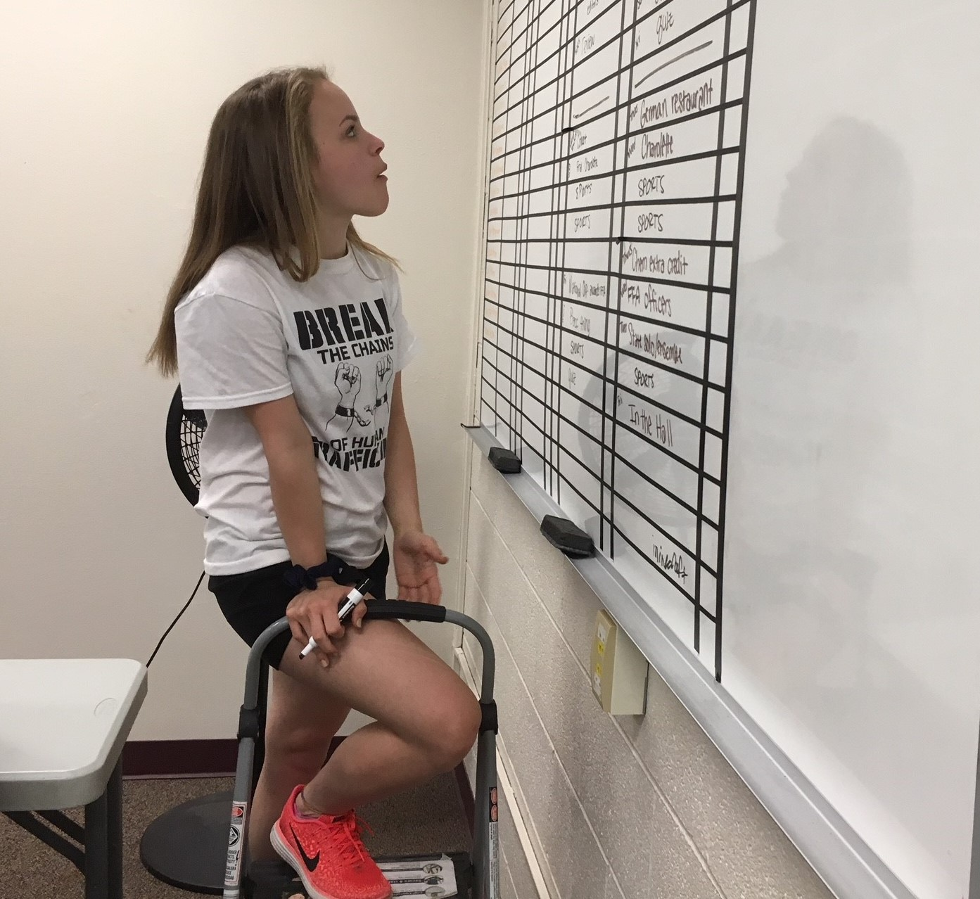 Junior Isabelle Braun writes down story assignments on the white board. Braun was the online editor this year and will assume the position of editor-in-chief next school year.